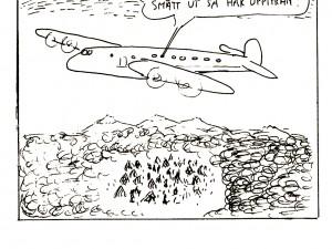 Flygplan som flyger över en pygméby.