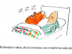 -Hallå Beatrice vakna, det är en massa z:an ovanför huvudet på dig