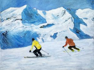 Fjäll med skidåkare/Mountain with skiers